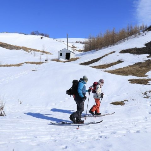Mountain skiers setting of
